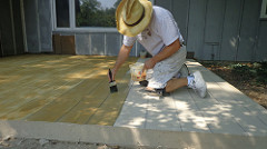 Fort Wayne Concrete Patio Resurfacing - Honey stain