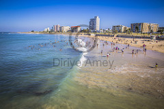 Look at the people on the beach waterfront of Port Elizabeth