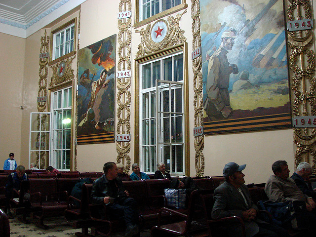 Train Station Waiting Room in Kursk - With Paintings Commemorating Battle of Kursk (July 1943) - Russia