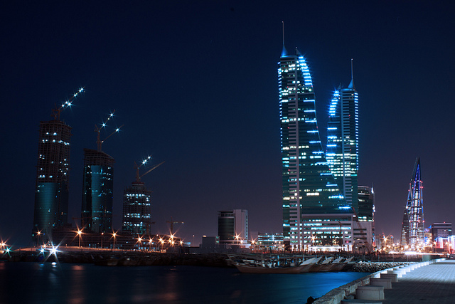 Kingdom of Bahrain Skyscrapers at night
