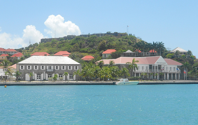 Gustavia - Wall House, City Hall, and Fort Oscar