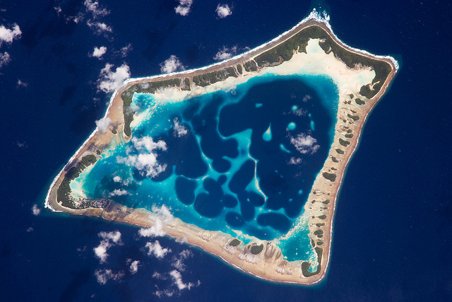 An aerial view of Atafu atoll in Tokelau. It is the smallest of Tokelau's three atolls with a land area of only 2.5 square kilometres. Photo: NASA