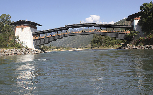 Cantelever bridge of Punakha dzong