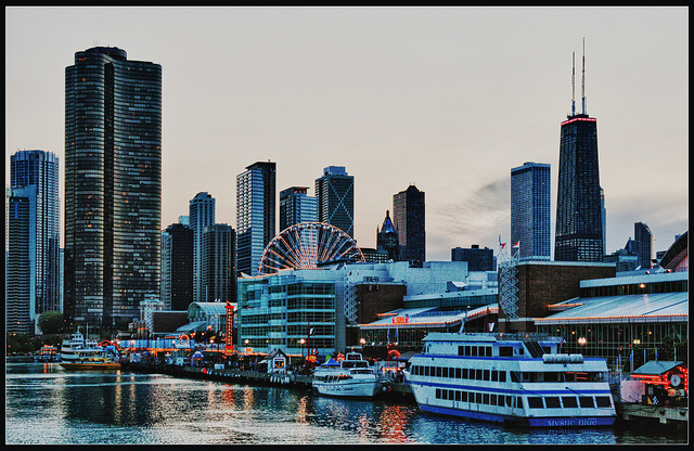 The HDR-files: Chicago Evening Skyline (Navy Pier)